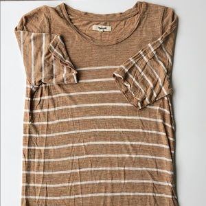 Madewell Tan and White Stripe Tshirt Small
